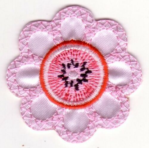 Pink Flower with Pink Kiwi Center Embroidery Patch Applique