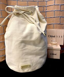 CHLOE PARFUMS CANVAS DRAWSTRING BAG WITH EDP MINI + SAMPLE SPRAYS ... 04b865457317e