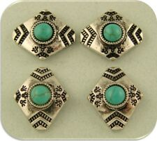 2 Hole Beads Faux Turquoise Diamond Shapes with Southwest Aztec Pattern ~ QTY 4