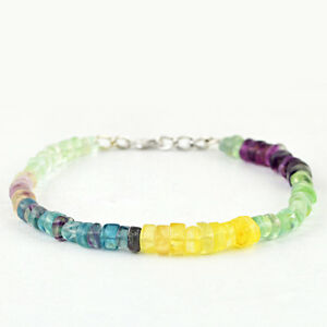 Best Deal And Digestion Helping Fine Bracelets 93.00 Cts Natural Multicolor Flourite Round Shaped Beads Bracelet Jewelry & Watches