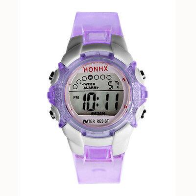 Children Girls Digital Watch LED Quartz Alarm Date Sports Wrist Watch D