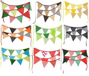 Wimpelkette Wimpel Band Girlande Stoff doppelseitig bunt farbenmix Dekoration