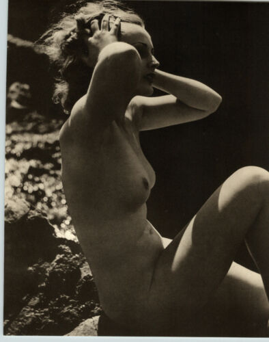 1940 Original FEMALE OUTDOOR BEAUTIFUL NUDE Woman Body WATER JOHN EVERARD PHOTO