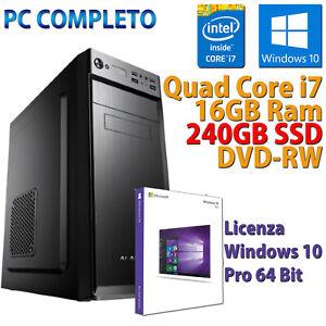 PC-FISSO-COMPUTER-DESKTOP-NUOVO-ASSEMBLATO-QUAD-CORE-i7-16GB-SSD-240-WINDOWS-10