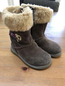 Filles-Bebe-CLARKS-En-Daim-Marron-Snuggle-FOLK-boots-Infant-6-F-Premiere-Chaussures