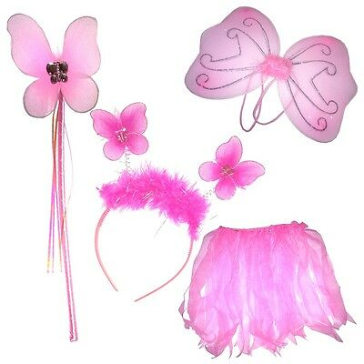 Baby Girls Fairy Angel Dress Up Pink Fairy Set Wings Wand, Bopper & Tutu