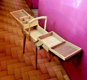 Ancien-coffre-coffret-Boite-a-couture-meuble-d-039-appoint-casier-tiroir-pied-compas