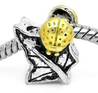 Ladybug Yellow Enamel Beetle Leaf Garden Bead For Silver European Charm Bracelet