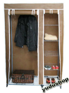 Faltschrank-Kleider-Campingschrank-Gitter-Ablage-braun