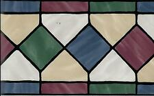 Stained Glass Look Diamonds- Blue, Green, Burgundy WALLPAPER BORDER