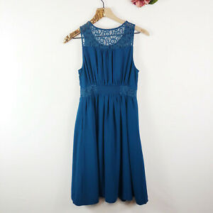 HD-IN-PARIS-Anthropologie-Women-039-s-Fit-amp-Flare-Dress-Teal-Lace-Sleeveless-Size-2