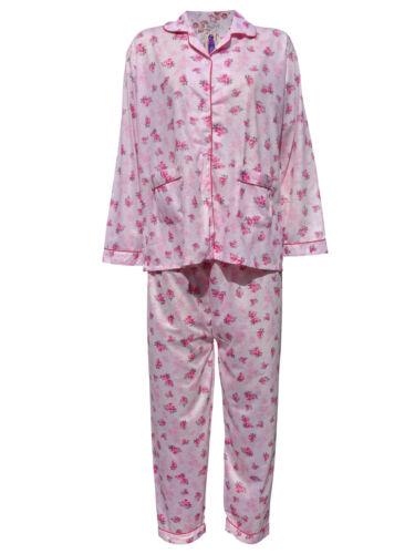 Damen Schlafanzüge Blumenaufdruck Pyjama Nacht Anzug Nachthemd Baumwolle