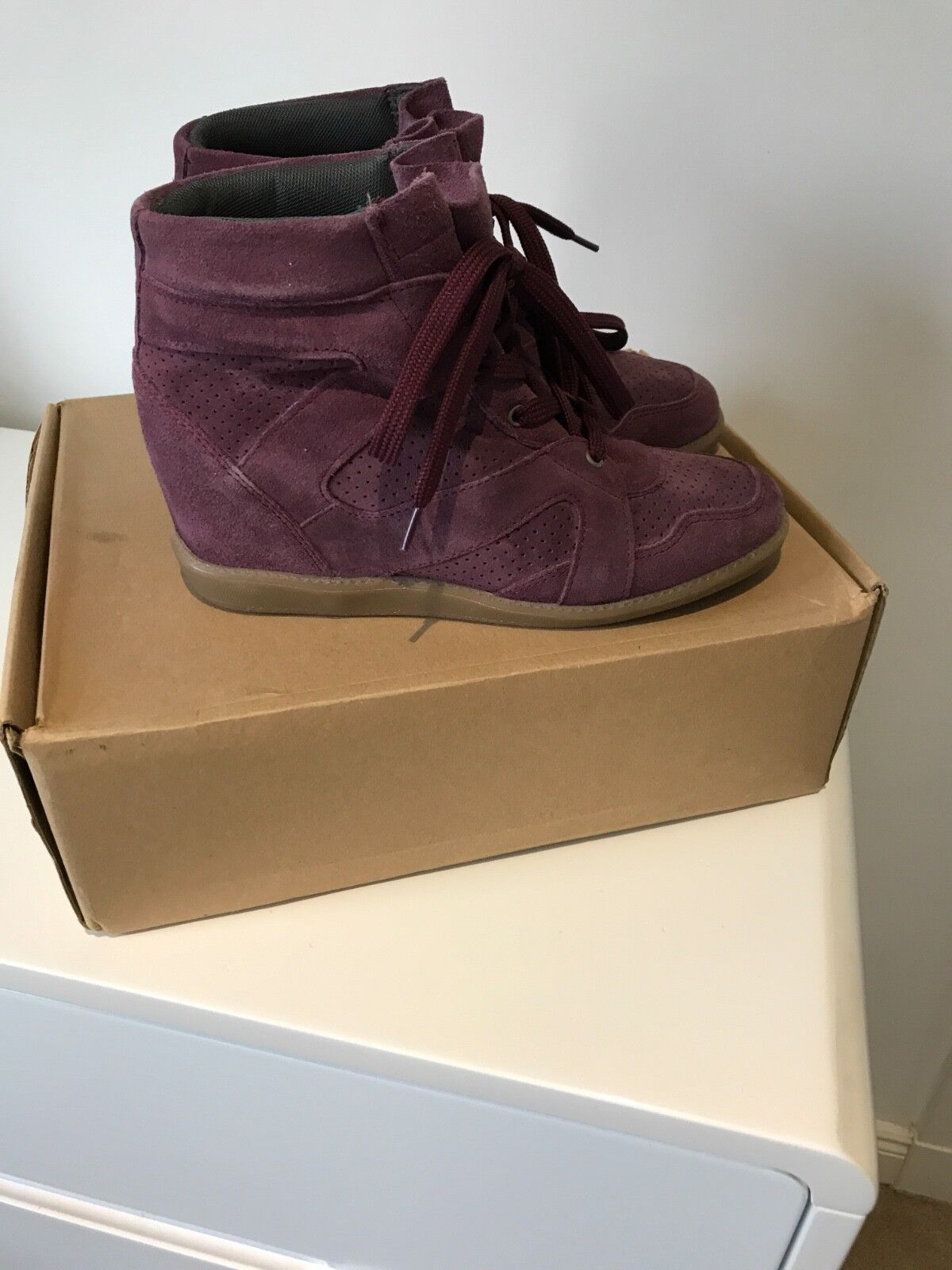 Cara london purple grape wedge trainers size 5 only worn once