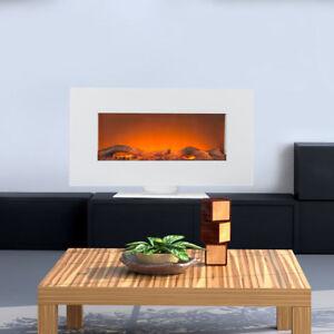 Elektro-Heizgeraet-Stand-Wand-Kamin-Timer-Fernbedienung-LED-Flammen-Effekt-weiss