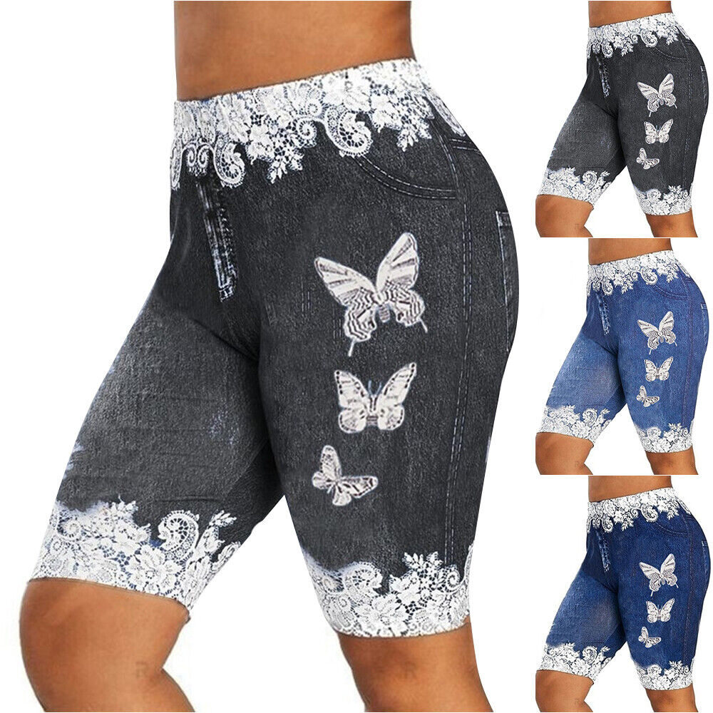 Damen Kurze Shorts Bermuda Leggins Leggings Yoga Sports Fitness Jogging Hosen