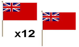 Red Ensign Naval Britain Large Hand Waving Flag 45X30Cm 12 Pack