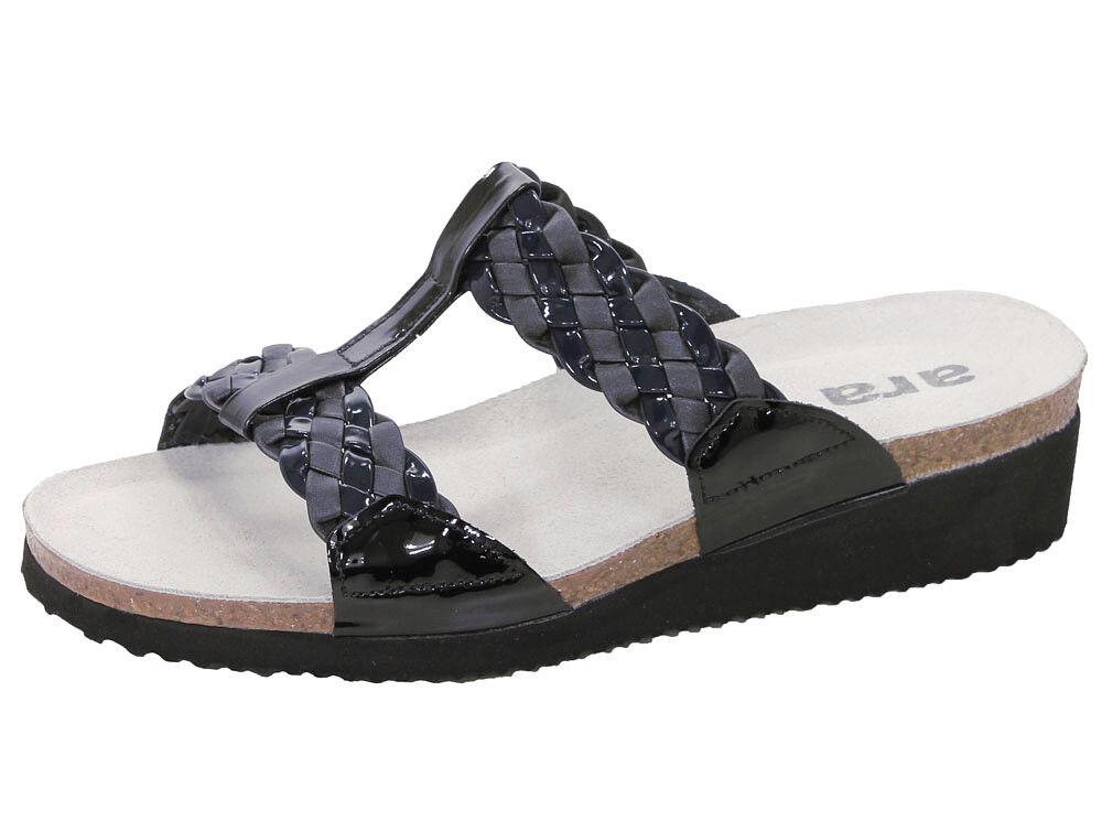 Ara ELBA Kork Fußbett Pantoletten Flecht grau schwarz graphit Leder NEU