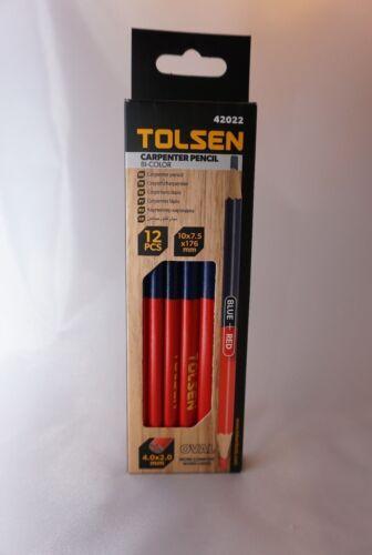 Pack of 12 Carpenter Pencils Bi-color Blue Red 42022