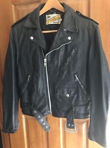 Schott-NYC-Perfecto-Nero-Giacca-Di-Pelle-Da-Motociclista-Moto-Vintage-Brando-SZ-40