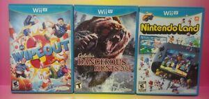 Nintendo-Wii-U-3-Game-Lot-Wipeout-3-Nintendoland-Cabela-039-s-Dangerous-Hunts-2013