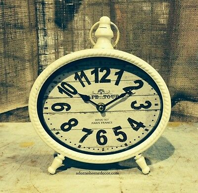WHITE TABLE CLOCK SHABBY Paris VINTAGE Mantle CHIC Decor Cottage Home Accent