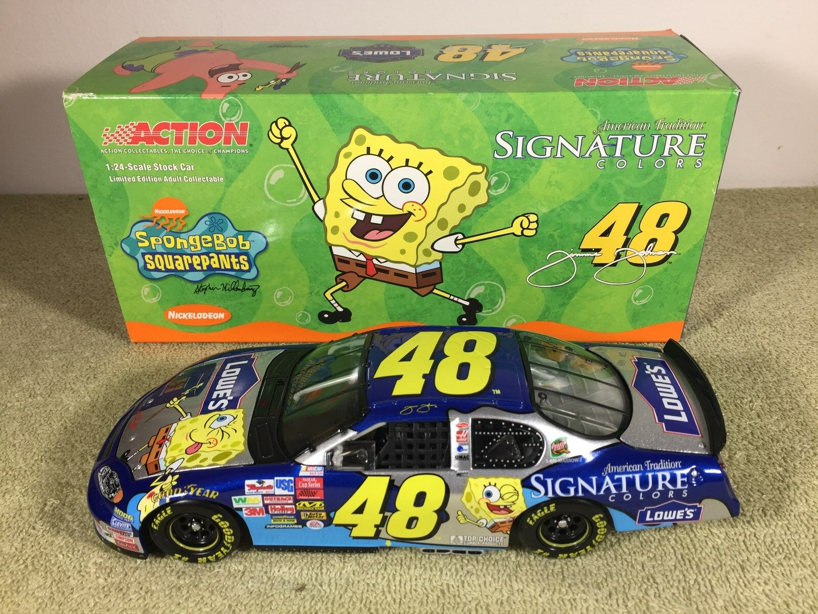2003 Action Jimmie Johnson  48 Lowes Sponge Bob CHEVY Diecast NASCAR 1 24