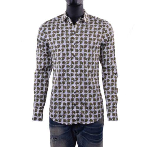 Dolce /& GABBANA SICILIA Runway Slim Fit Camicia con carretti PRINT Bianco 06091