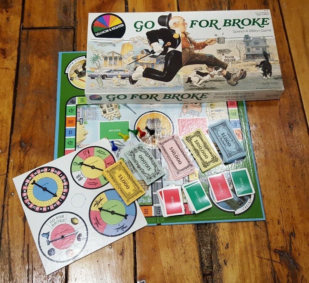 Go For Broke (Board Game, 1985) Spend-A-Million Selchow & Righter RARE OOP