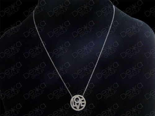 925 Sterling Silver LOVE Cubic Zirconia Circle Necklace Evil Eye Mati Nazar