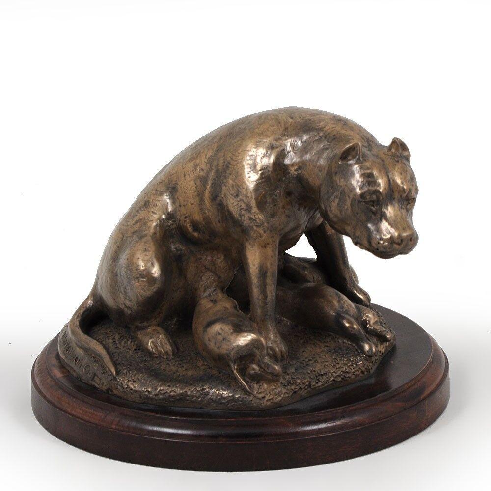 Staffy tipo 2 - busto statua di cane su base di legno, Art Dog IT