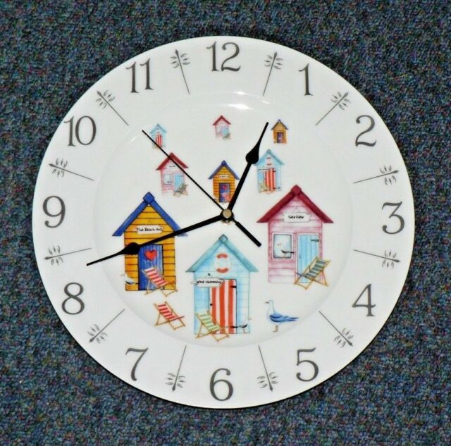 "Beach Hut design 11"" large bone china  wall clock - gift  boxed seaside nautical"