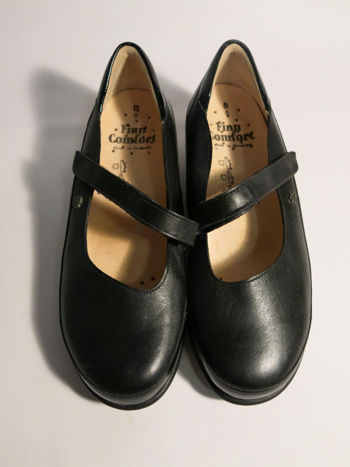 Zapatos De De De Cuero Menta Finn Comfort para mujer UK 6 US 8.5 Mary Jane Negro  en linea