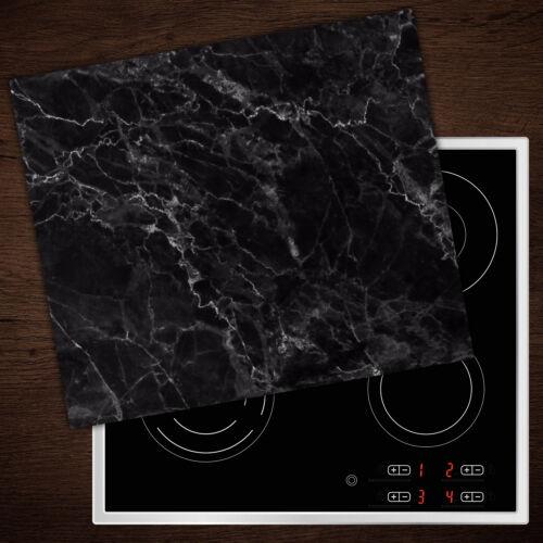 60x52 cm Herd-Abdeckplatte Glas Ceranfeld-Abdeckung Deko Schwarzer Marmor