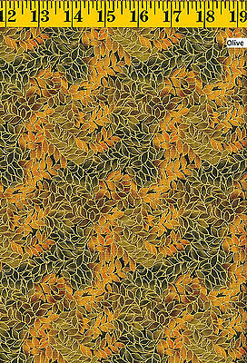 Honeystone Hill Leaf Allover Metallic Cotton Fabrics *Each Sold by the Yard* Blank Quilting