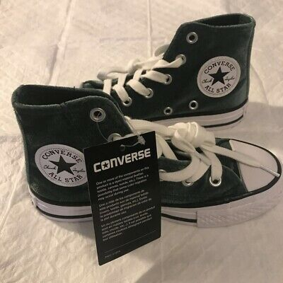 Girls Youth CONVERSE ALL STAR Green Velvet High Top Sneakers Shoes 658210F NEW