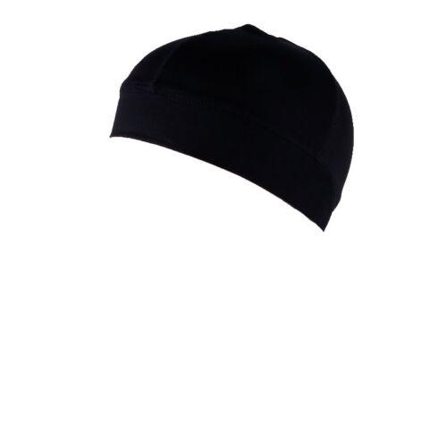 New Men/'s Spandex All Black Dome Cap Helmet Liner Sports Beanie Skull Hat Biker