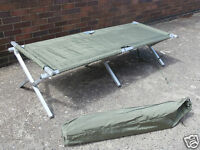 Nato Issue Folding Cot Bed Heavy Duty Aluminium Camp Army / Military Surplus