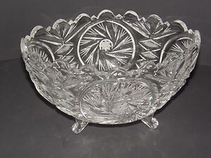 BOHEMIAN-CZECH-LEADED-CUT-CRYSTAL-FOOTED-BOWL-STAR-OF-DAVID-AND-FLORAL-DESIGN