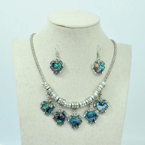 1 Set Abalone Shell Jewelry Set Argent Antique Femmes FAMALE Collier Pendentif BFP