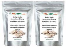 1000 Tabletten Ginkgo biloba 3000mg + Panax Koreanischer Ginseng 1000mg vegan