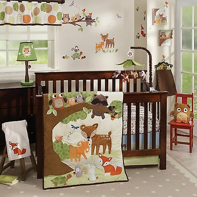Lambs & Ivy Woodland Tales 4 Piece Baby Nursery Crib Bedding Set NEW