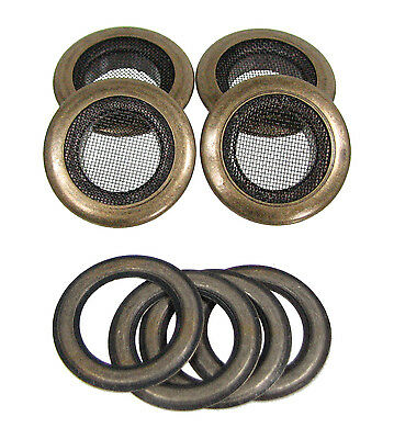 4pc. 1-inch Outside Dia. Screened Antique Brass Grommets with Washers