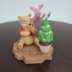 "1998 Disney Winnie The Pooh And Piglet Christmas Tree Figurine Ceramic 4.5"""