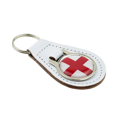 Union Jack Design Red Bonded Leather Key Ring XKFR035