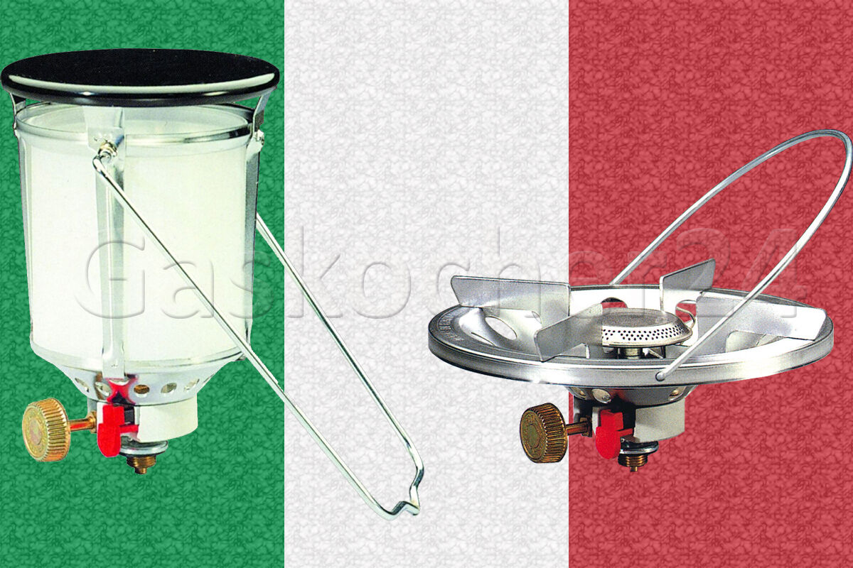 2er-Set Gaskocher + Gaslampe Campingkocher Topfauflage Campinglampe 500HK R904