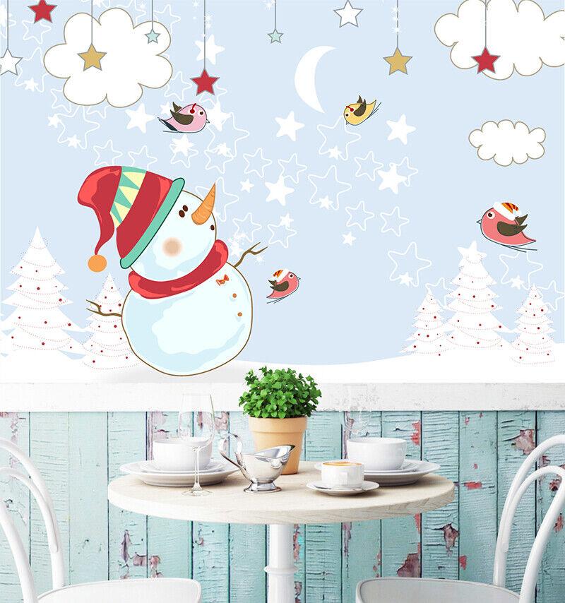 3D Schneemann Stern M385 Christmas Tapete Wandbild Selbstklebend Abnehmbare Amy