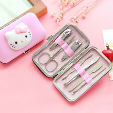 Cute Hello Kitty Manicure Set Nail Care Clipper Pedicure tools 7 in 1