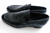 $5900 Brioni Navy Crocodile Leather Shoes Loafers Size 12 Us 45 Euro 11 Uk