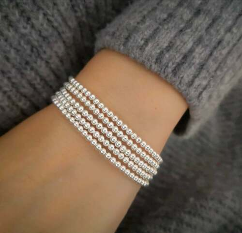 Stunning Silver ball beaded Stacking Bracelet Women all Occasion gift Any Size