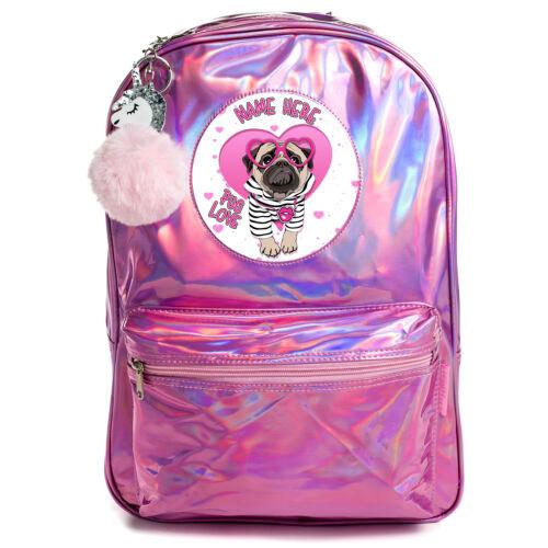 CARLINO borsa bambina scuola Zaino brillante olografica rosa Borsa personalizzata PH20